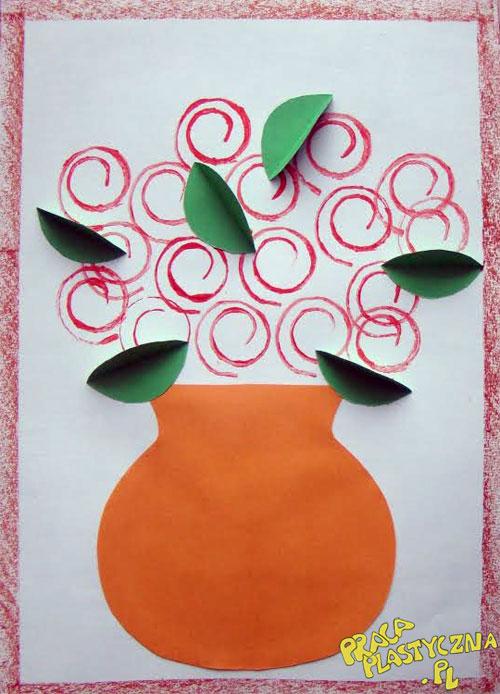 Bukiet róż - Prace plastyczne dla dzieci