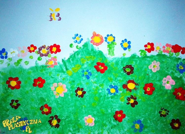 Stemplowana łąka - Prace plastyczne dla dzieci